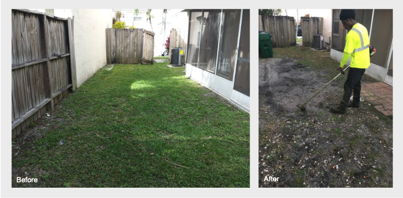 Before and after tenant lawn care for residential property rentals